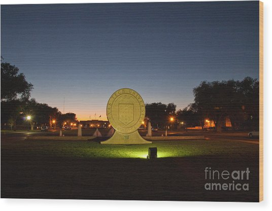 Texas Tech University Seal At Sundown Second Image Wood Print by Mae Wertz