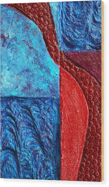 Texture And Color Bas-relief Sculpture #4 Wood Print