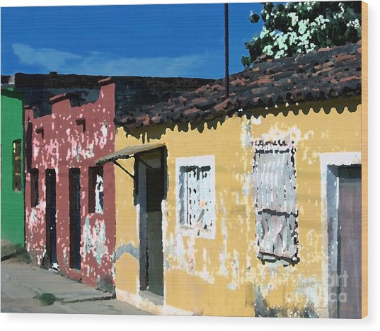 Textured - City In Mexico Wood Print