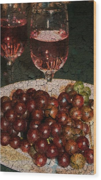 Textured Grapes Wood Print