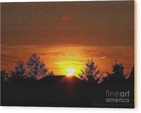 Textured Rural Sunset Wood Print