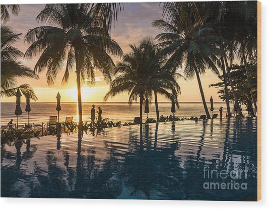 Thai Sunset Wood Print