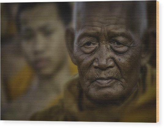 Thailand Monks 2 Wood Print by David Longstreath