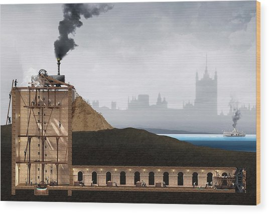 Thames Tunnel Construction Wood Print by Claus Lunau/science Photo Library