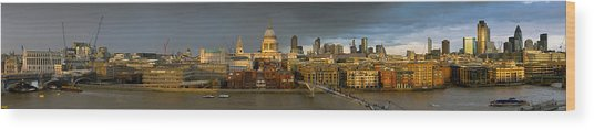 Thames With St Paul's Panorama Wood Print