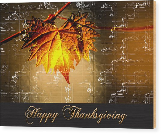 Thanksgiving Card Wood Print