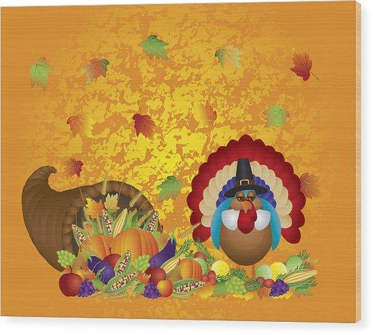 Thanksgiving Day Feast Cornucopia Turkey Pilgrim With Background Wood Print