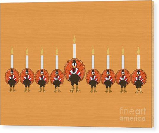 Thanksgivukkah Turkey Menorah Wood Print