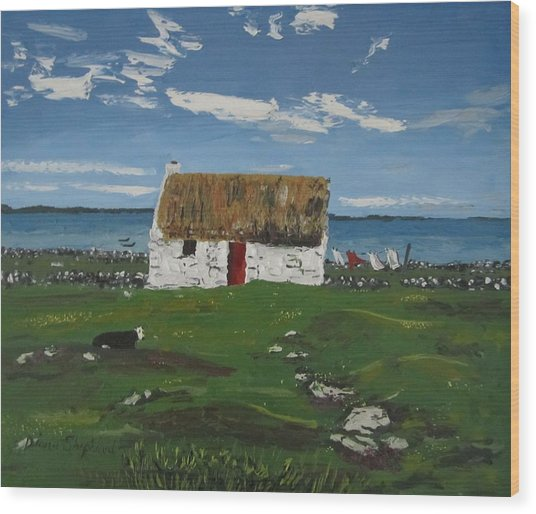 Thatch Cottage Ballyconneelly Connemara Ireland Wood Print