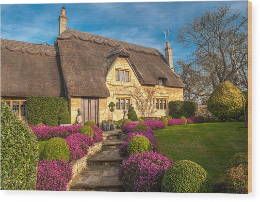 Thatched Cottage Chipping Campden Cotswolds Wood Print by David Ross