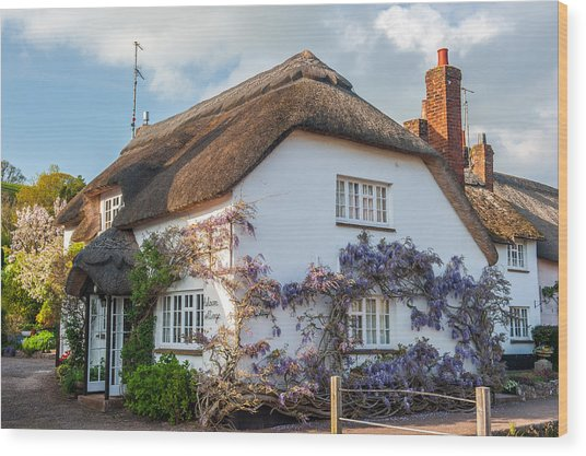 Thatched Cottage In Otterton Devon Wood Print by David Ross