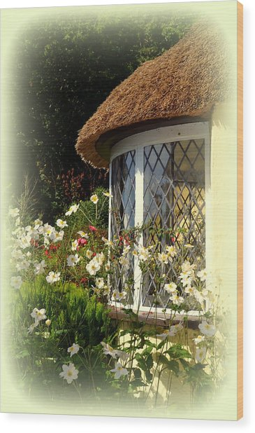 Thatched Cottage Window Wood Print