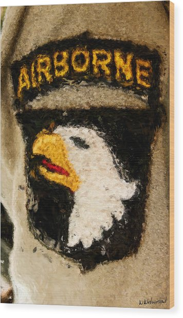 The 101st Airborne Emblem Painting Wood Print