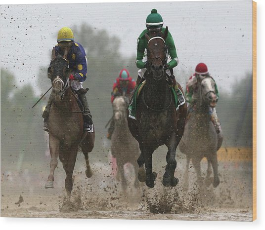 The 141st Running Of The Preakness Wood Print by Rob Carr