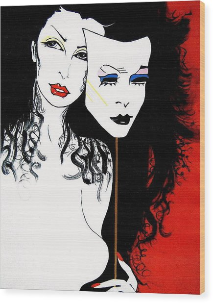 The 2 Face Girl Wood Print