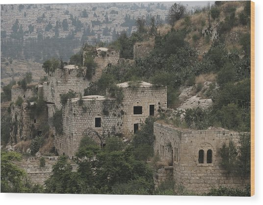 The Abandoned Palestinian Village Of Lifta On The Outskirts Of Jerusalem Wood Print by Eddie Gerald