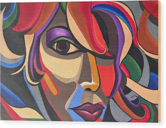 Colorful Abstract Woman Face Art, Acrylic Painting, 3d Illusion Wood Print