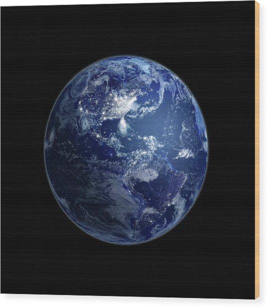 The Americas At Night, Artwork Wood Print by Andrzej Wojcicki