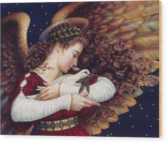The Angel And The Dove Wood Print