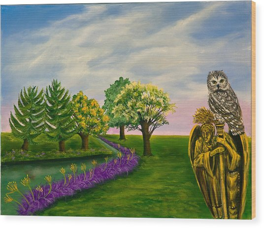 The Angel And The Owl Wood Print