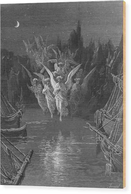 The Angelic Spirits Leave The Dead Bodies And Appear In Their Own Forms Of Light Wood Print