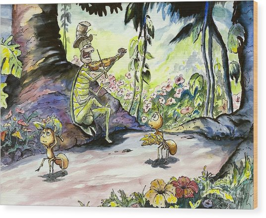 The Ant And The Grasshopper Wood Print