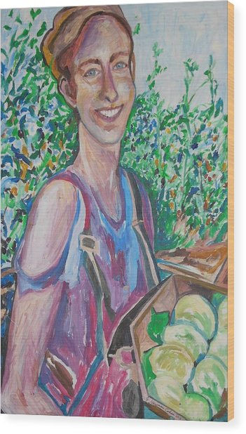The Apple Picker Wood Print