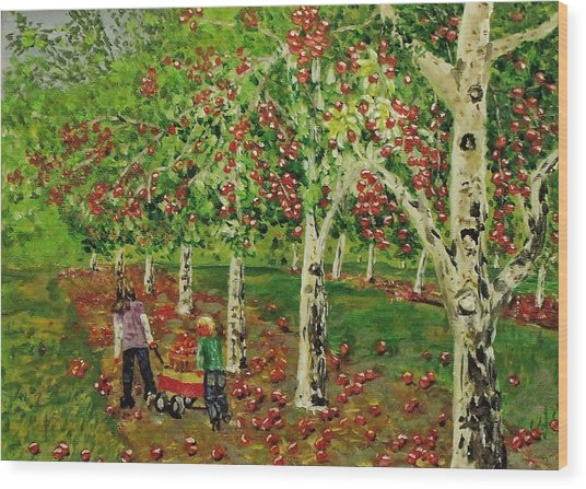 The Apple Pickers Wood Print