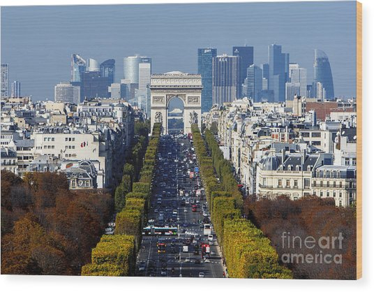 The Arc De Triomphe Paris France Wood Print