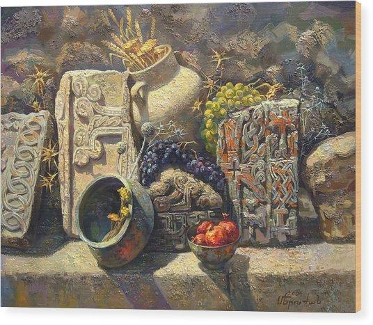 The Armenian Still Life With Cross  Stone Khachkar Wood Print by Meruzhan Khachatryan