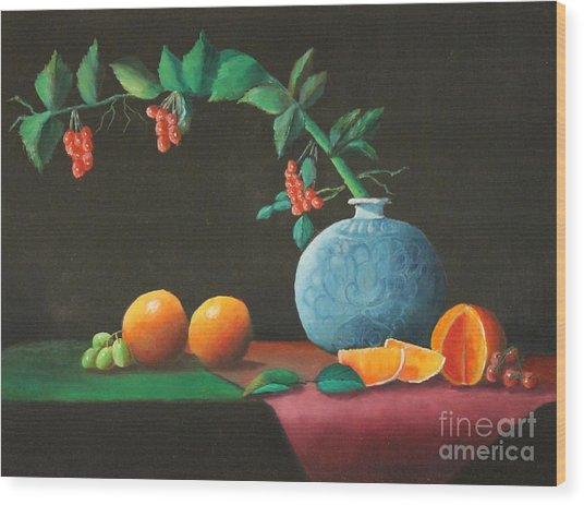 The Asian Vase And Oranges Wood Print