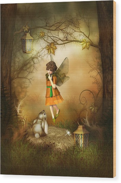 The Autumn Fairy Wood Print