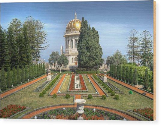 The Bahai Gardens Wood Print