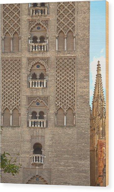 The Balconies Of Seville Cathedral Belfry Wood Print by Viacheslav Savitskiy