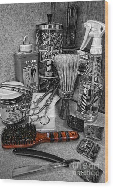 The Barber's Brush Wood Print