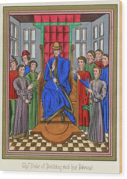 The Barons Of Bretagne Meet To Wood Print by Mary Evans Picture Library