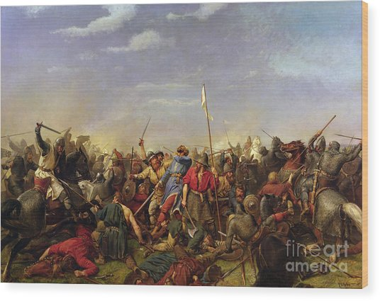 The Battle At Stamford Bridge Wood Print by Peder Nicolai Arbo