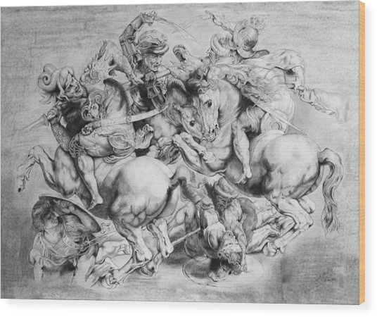 The Battle Of Anghiari Wood Print by Miguel Rodriguez
