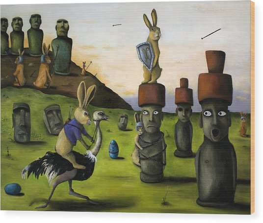 The Battle Over Easter Island Wood Print