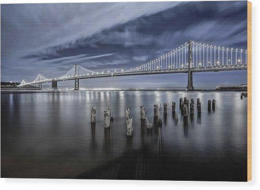 The Bay Bridge Lights San Francisco Wood Print