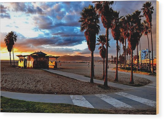 Wood Print featuring the digital art The Beach by Visual Artist Frank Bonilla