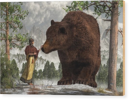 The Bear Woman Wood Print