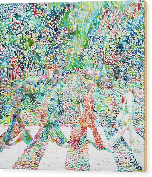 The Beatles - Abbey Road - Watercolor Painting Wood Print