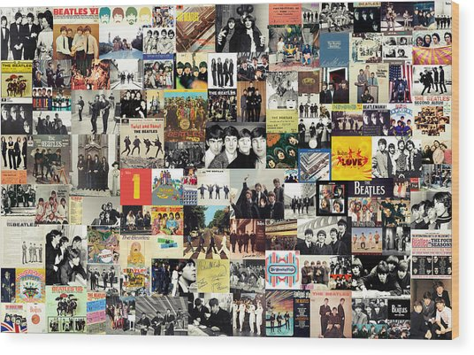 The Beatles Collage Wood Print