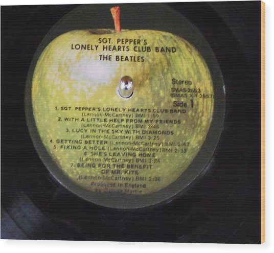 The Beatles Vinyl - Sgt. Pepper's Wood Print by Dianna Jackson