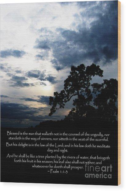 The Bible Psalm 1 Wood Print