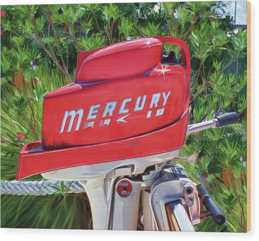The Big Red Mercury Engine Wood Print