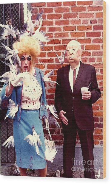 New Orleans The Birds And Alfred Hitchcock Mardi Gras Day In The French Quarter In Louisiana Wood Print