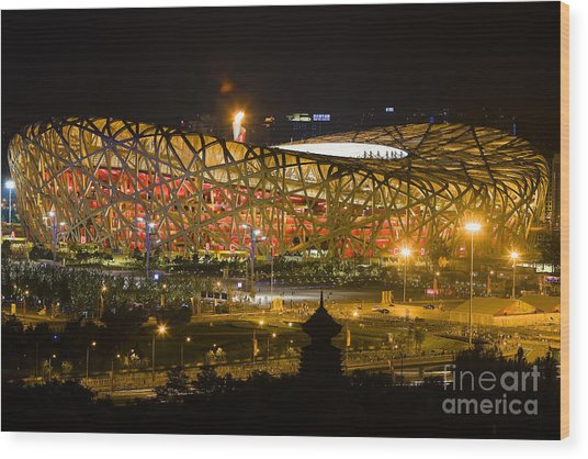 The Birds Nest Stadium China Wood Print