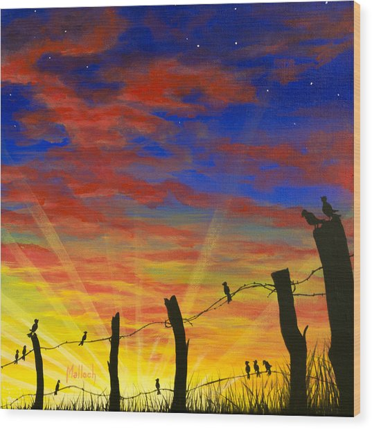 The Birds - Red Sky At Night Wood Print